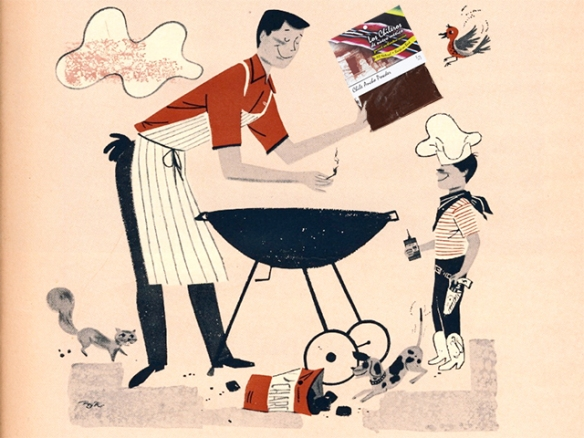 "Illustration from Better Homes & Gardens ""Barbecue Book,"" 1956, with spicy addition"